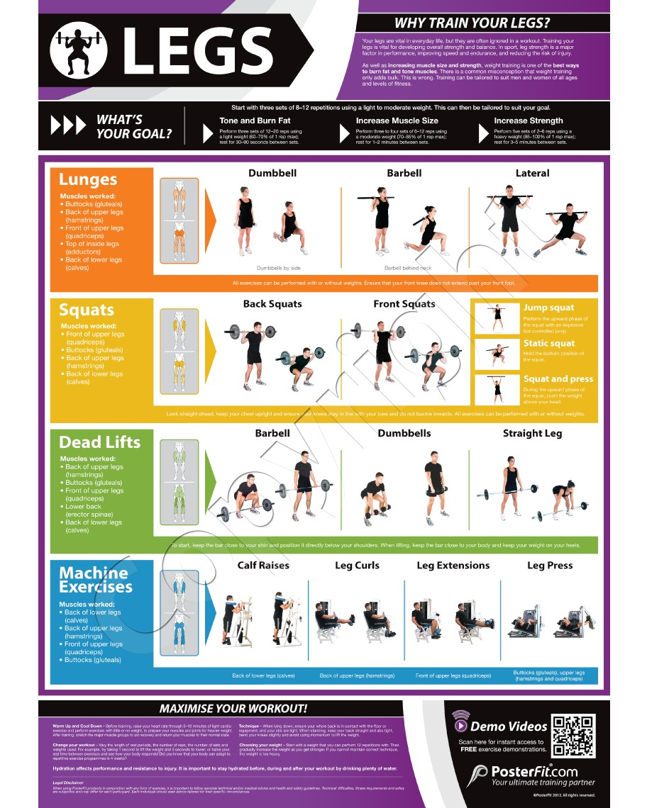 Home Gym Leg Workout: Legs Exercise Wall Poster